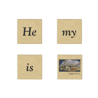 He is my rock Scripture, Stone Magnet, set of four Stone Magnets