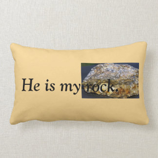 He is my rock Throw Pillow, Lumbar Lumbar Pillow