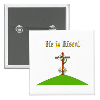 He Is Risen 2 Inch Square Button