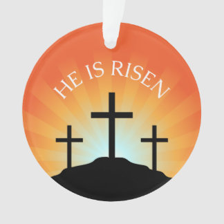 He is risen cross against sunrise Easter Ornament