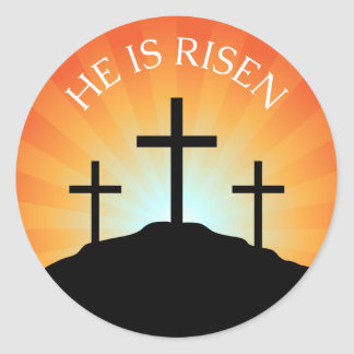 He is risen cross against sunrise Easter sticker