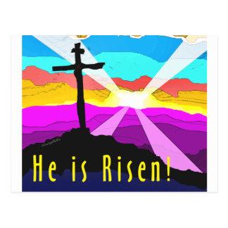 He is risen cross Christian Gift design Postcard
