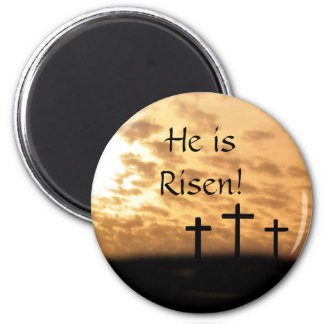 He is Risen Crosses and Sunset Easter Magnet