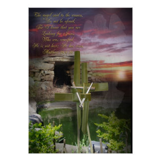 He is risen, Easter religious art Poster