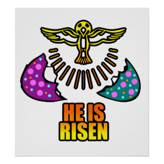 HE IS RISEN JESUS EASTER EGG POSTER