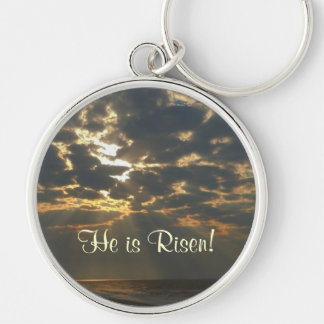 He is Risen! Morning Sun and Ocean Silver-Colored Round Keychain