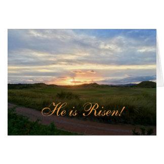 """He is Risen!"" Sunrise on Green hills Easter Card"