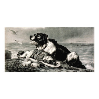He Is Saved by Currier and Ives Rescue Dog Picture Card