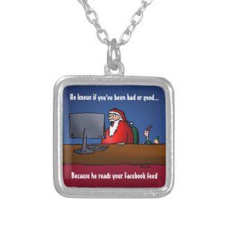 He Knows If You've Been Bad Funny Santa Silver Plated Necklace