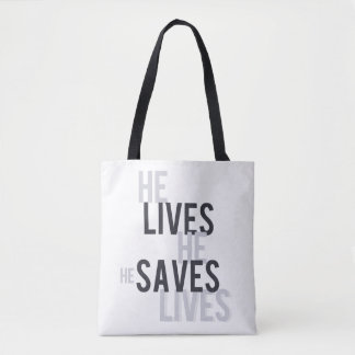 He Lives. He Saves Tote Bag.