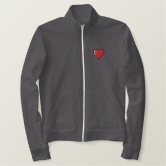 HE LOVES HER CUSTOM RED TRACK JACKET! EMBROIDERED JACKET