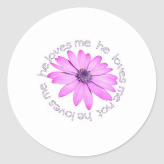 He Loves Me He Loves Me Not Round Sticker