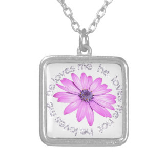 He Loves Me He Loves Me Not Silver Plated Necklace