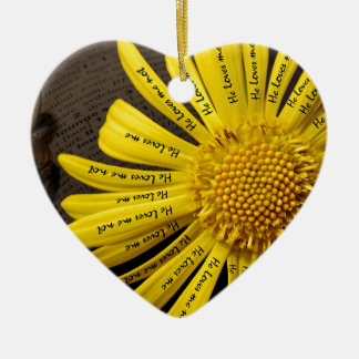 he loves me he loves me note ceramic heart ornament