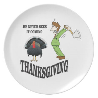 he never sees it coming party plate