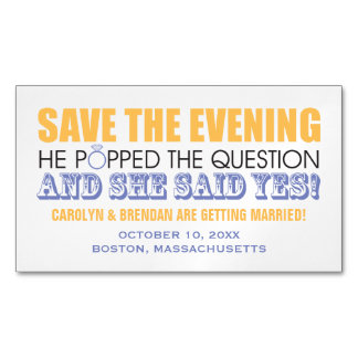 He Popped the Question | Save the Evening Business Card Magnet