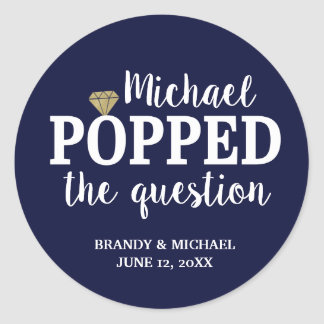 He Popped The Question Sticker | Navy