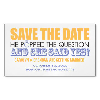 He Popped the Question | Wedding Save the Date Magnetic Business Card