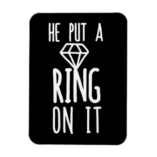 He put a ring on it rectangular photo magnet