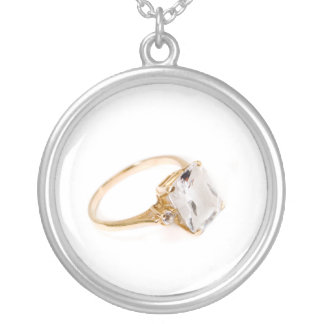 He Put a Ring on It/save the date Round Pendant Necklace