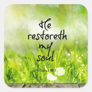 He restoreth my Soul Bible Verse Scripture Square Sticker