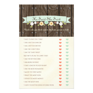He Said She Said Mint Boho Bridal Shower Game Custom Flyer