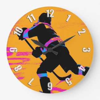 He Shoots!- Hockey Player Large Clock