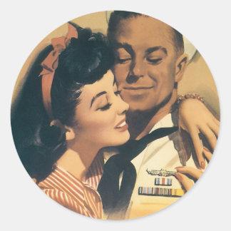 """""""He Volunteered For Submarine Service"""" Round Sticker"""