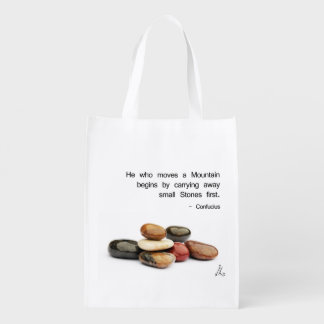 He who moves a Mountain ... - Confucius Reusable Grocery Bag
