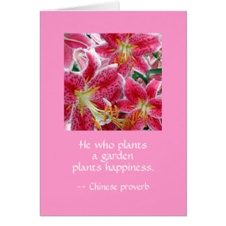 He who plants a garden plants happiness. WT WI BB Card
