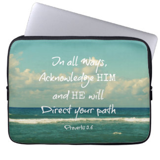 He will direct your Path Bible Verse Laptop Sleeves