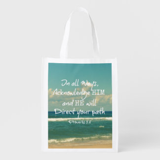 He will direct your Path Bible Verse Market Totes