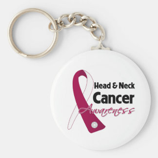 Head and Neck Cancer Awareness Ribbon Basic Round Button Keychain