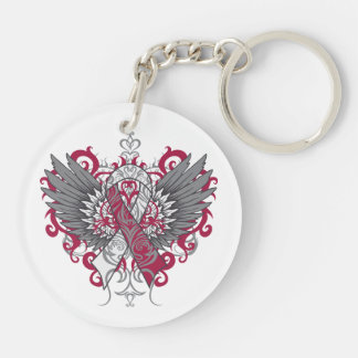 Head and Neck Cancer Cool Awareness Wings Acrylic Keychain