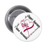 Head and Neck Cancer Faith Hope Love Butterfly 2 Inch Round Button