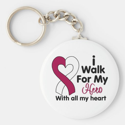 Head and Neck Cancer I Walk For My Hero Keychain