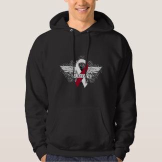 Head and Neck Cancer Winged SURVIVOR Ribbon Hooded Sweatshirt