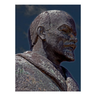 Head and Shoulders of Lenin Statue Poster