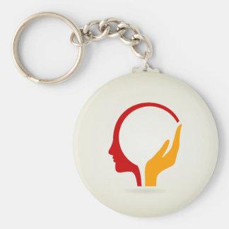 Head Basic Round Button Keychain