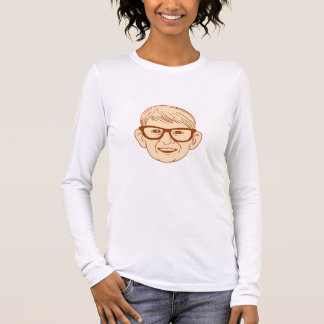 Head Caucasian Boy Smiling Big Glasses Drawing Long Sleeve T-Shirt
