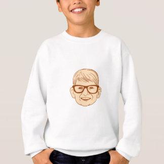Head Caucasian Boy Smiling Big Glasses Drawing Sweatshirt