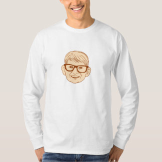 Head Caucasian Boy Smiling Big Glasses Drawing T-Shirt
