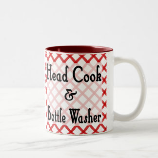Head Cook and Bottle Washer Funny Saying Mug