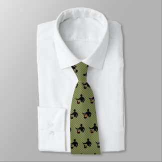 Head Cook - Novelty Cooking Guy Motif on Striped Tie
