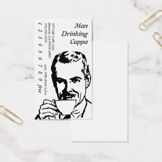Head Drinking Line Art Morning Cuppa Business Card