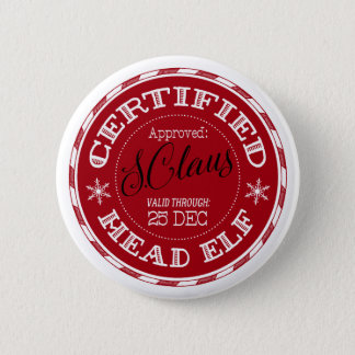 Head Elf | Christmas Seal of Approval 2 Inch Round Button