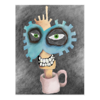 head in a cup. postcard