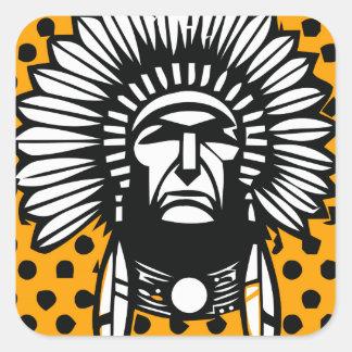 Head indian square sticker