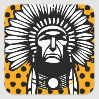 Head indian square stickers