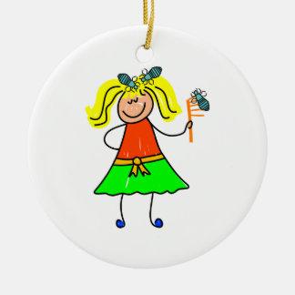 Head Lice Kid Ceramic Ornament